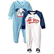 Carter's Baby Boys' 2-Pack Cotton Sleep and Play, Allstar/Dog, 3 Months