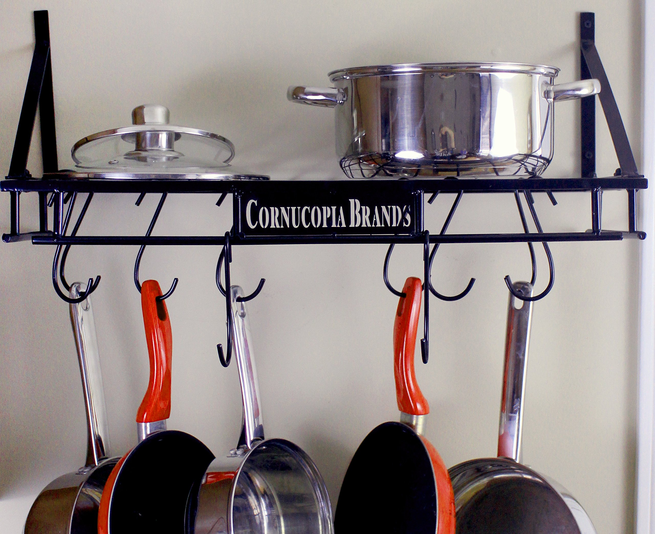 Wall-Mounted Pot Hanging Rack, 24 by 10 Inches, All-Black Decorative Kitchen Shelf w/ 10 S-Hooks by Cornucopia Brands (Image #2)