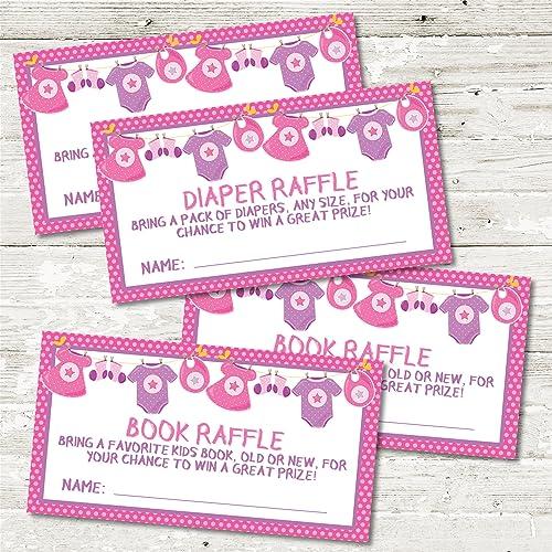 Amazon Com Girls Pink Purple Baby Shower Diaper Raffle Tickets