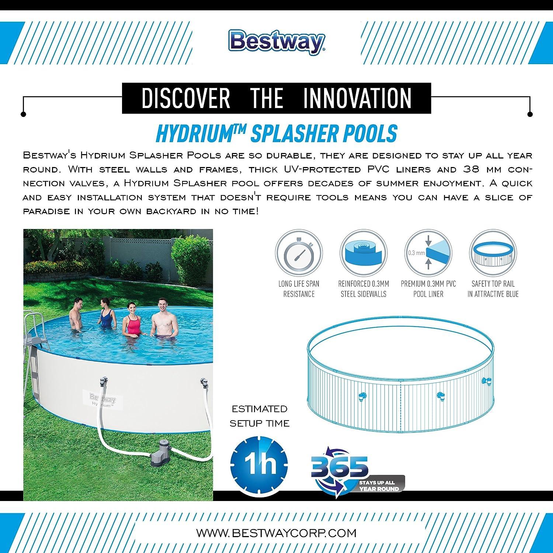 Piscina Desmontable de Acero Bestway Hydrium Splasher 360x90 cm Depuradora de cartucho de 2.006 litros/hora