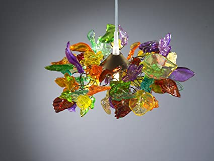 Pendant Lighting Multi Colored Flowers And Leaves Lamp Shade - Kitchen light fixtures amazon