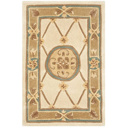 Safavieh Naples Collection NA523B Handmade Ivory and Caramel Wool Area Rug, 2 feet by 3 feet 2 x 3