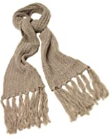 GIZZY® Ladies Knitted Taupe Tassle Scarf.