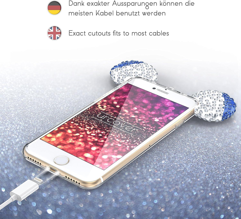 Urcover Custodia Apple iPhone 7/8 Plus Orecchie da Topolino, Cover Protettiva in Silicone Trasparente Morbida, Back Case con Strass Brillantini ...