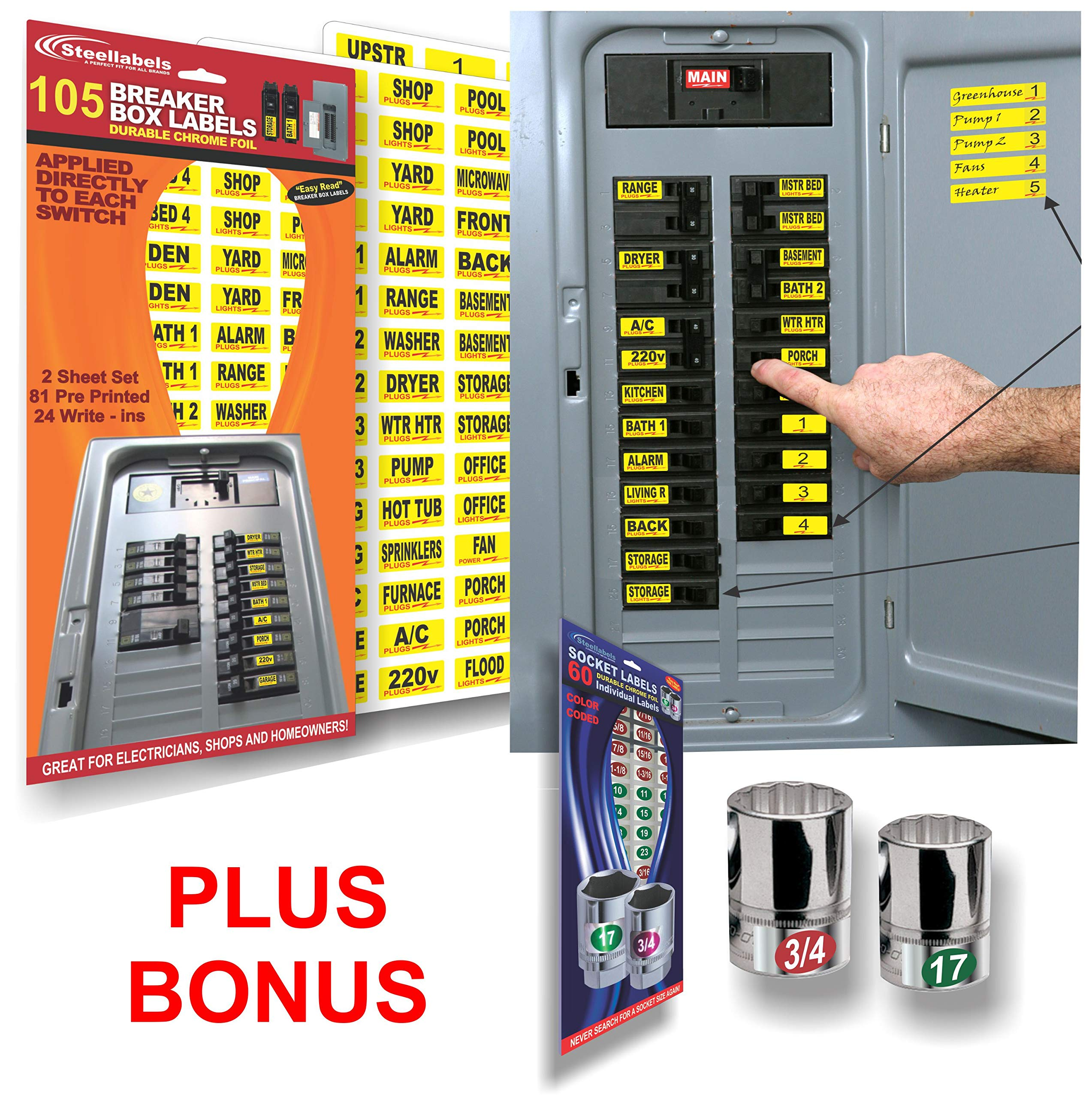 Circuit Breaker ID Tags plus Bonus Chrome Socket Labels for tool organizing, great for Home Owners, Apartments & Electricians, Decals fit all Breaker Panels & Switches, applies directly to the breaker by Steellabels (Image #1)