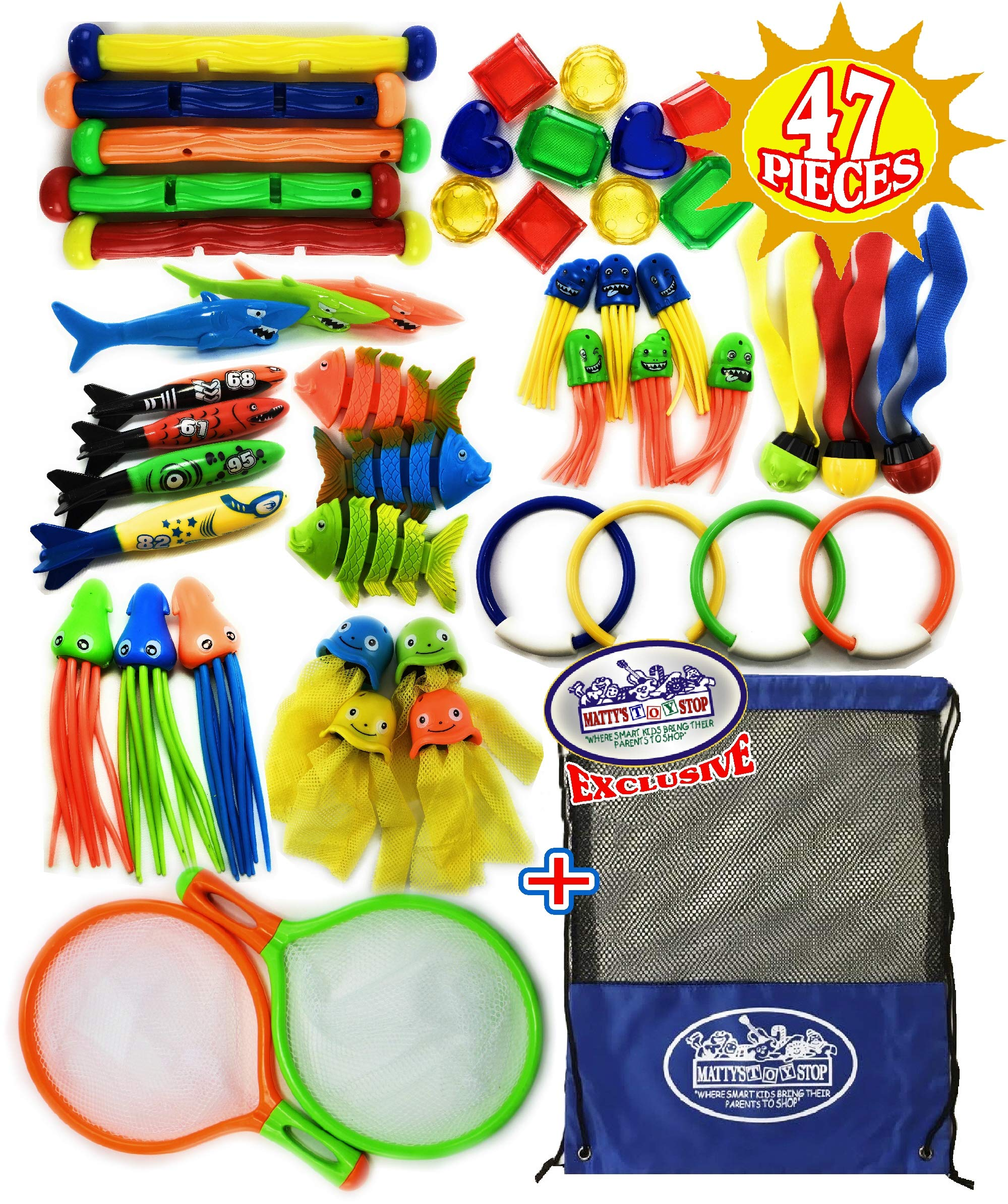 Matty's Toy Stop 47 Piece Super Ultimate Dive Set for Diving/Swimming Pools Featuring Dive Sticks, Dive Rings, Gems, Balls, Fish, Torpedo, Shark, Octopus, Jellyfish, Fishing Nets & Bonus Storage Bag by Matty's Toy Stop