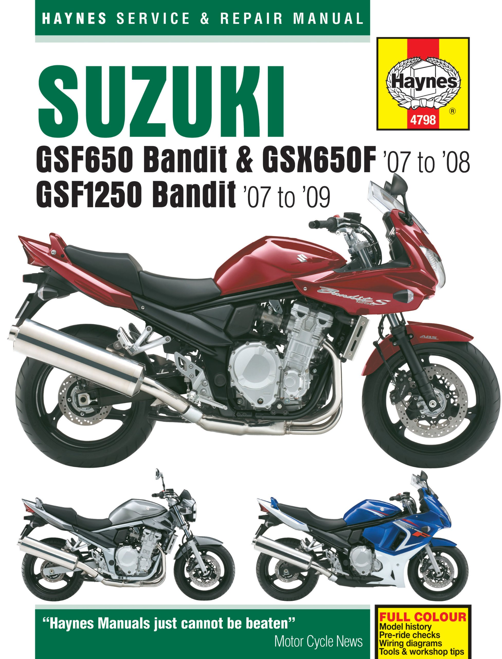 Suzuki GSF650, 1250 Bandit & GSX650F Haynes Repair Manual (2007 -2009):