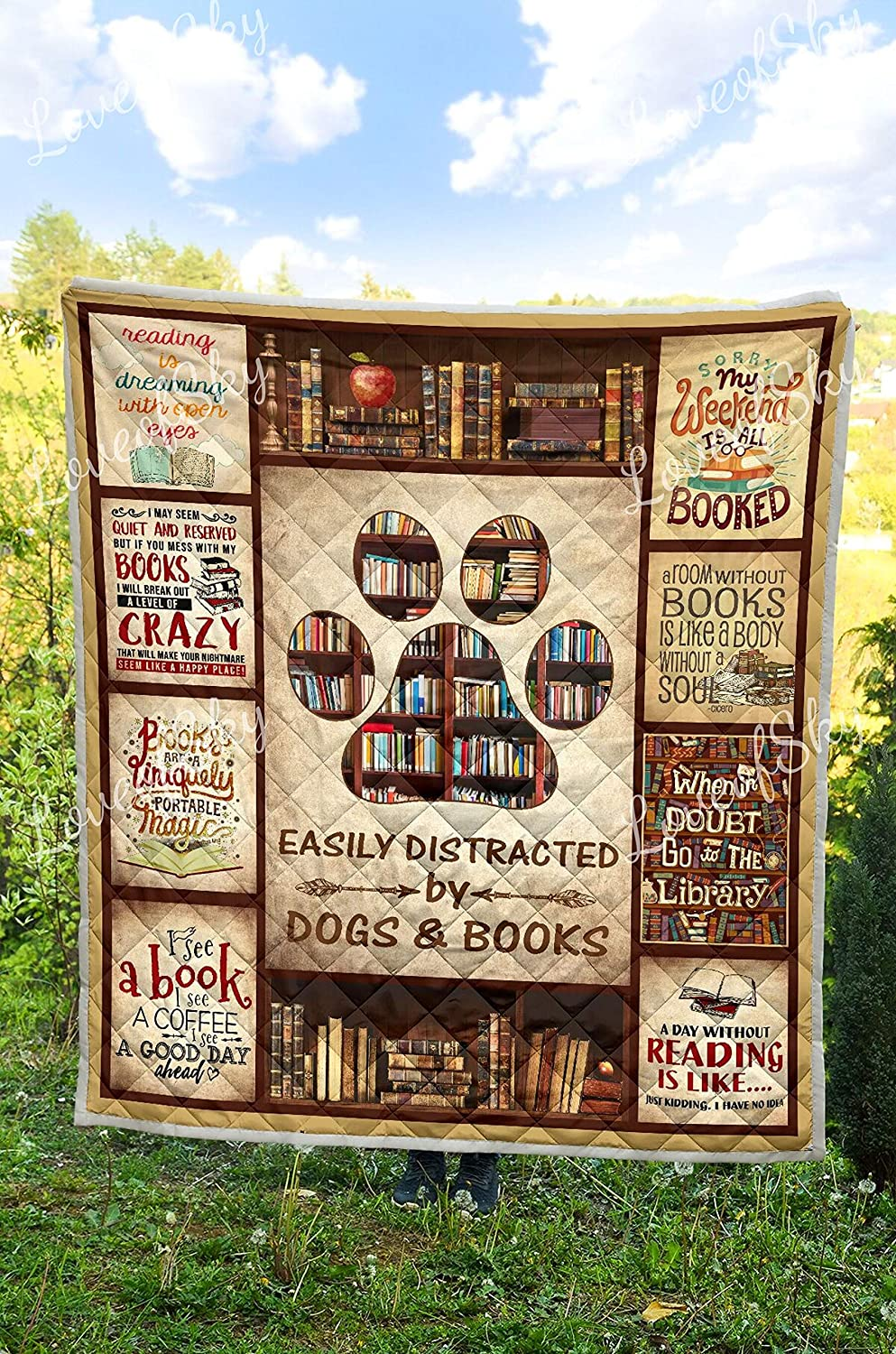 Gifts Best Decorative Unique Banklet for Traveling All Season Comforter with Cotton Quilts Picnics LoveofSky Librarian Easily Distracted by Dogs and Books Quilt Twin Size Beach Trips