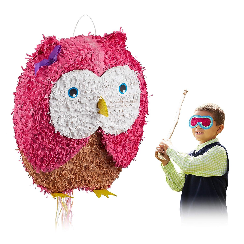 Relaxdays- Pinata à Suspendre Hibou Chouette pour Enfants à remplir Anniversaire Jeux décoration, Rose, 10025177, Bonbon