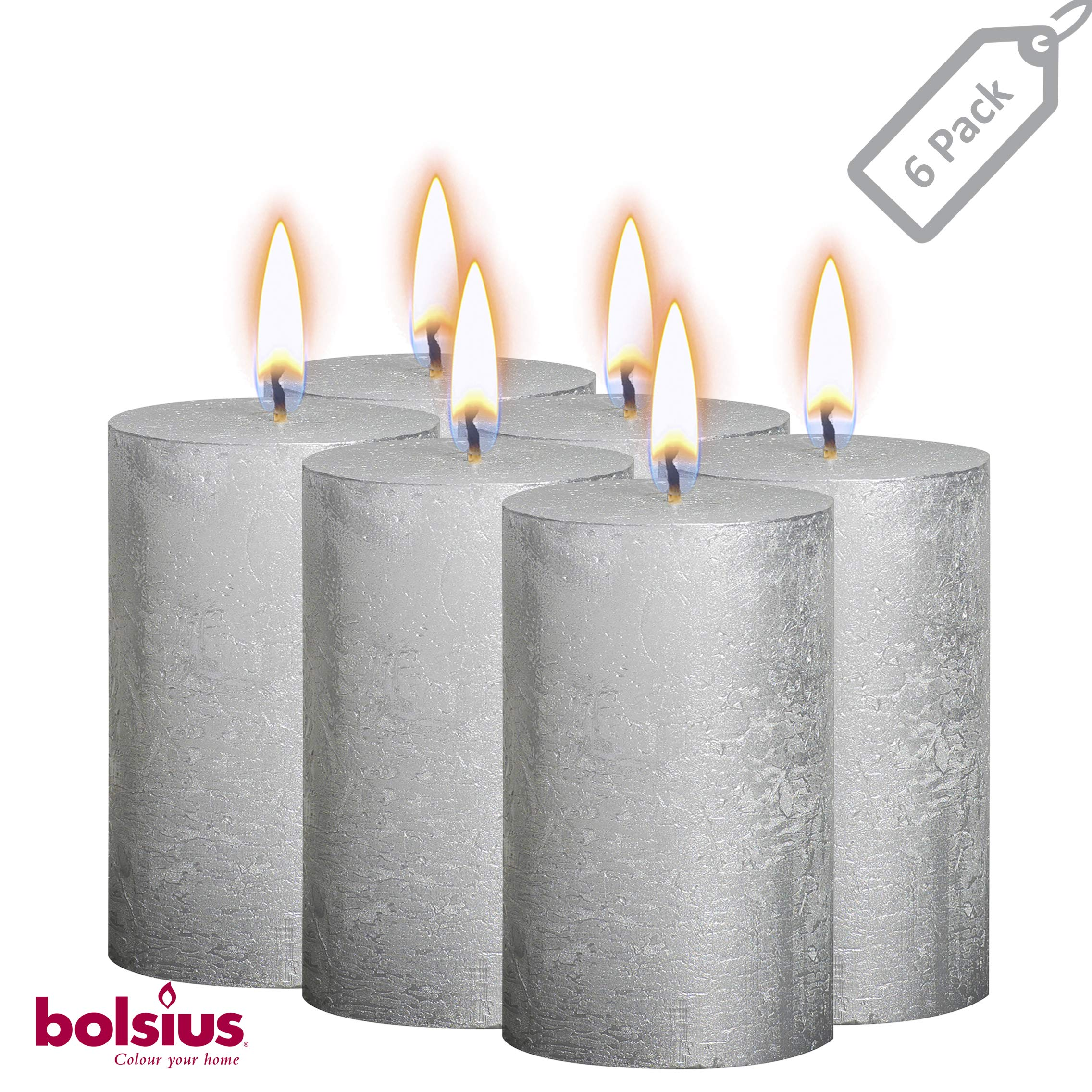 BOLSIUS Rustic Full Metallic Silver Candles - Set of 6 Unscented Pillar Candles - Silver Candles with a Full Metallic Coat - Slow Burning - Perfect Décor Candle - 130/68m 5 X 2.75 Inches