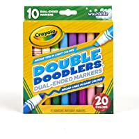 Crayola Dual-Tip Washable Markers, Broad Line & Chisel Tip, 10 Count