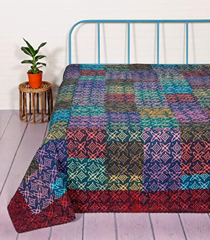 HANDICRAFT-PALACE Patchwork Quilt Bedspread Double Size Gudari Bed Cover Block Printed Cotton Kantha Quilts (Multicolor)