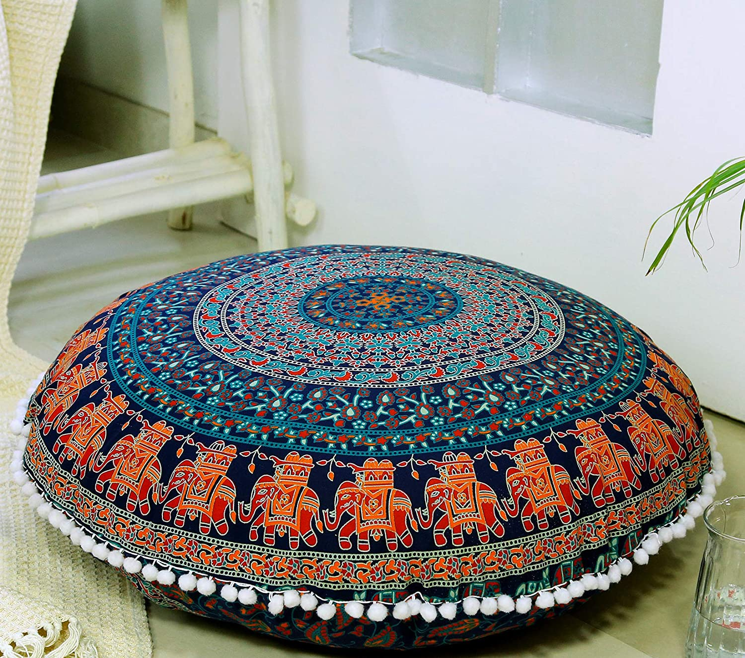 "Popular Handicrafts Large Hippie Mandala Floor Pillow Cover - Cushion Cover - Pouf Cover Round Bohemian Yoga Decor Floor Cushion Case- 32"" Blue"