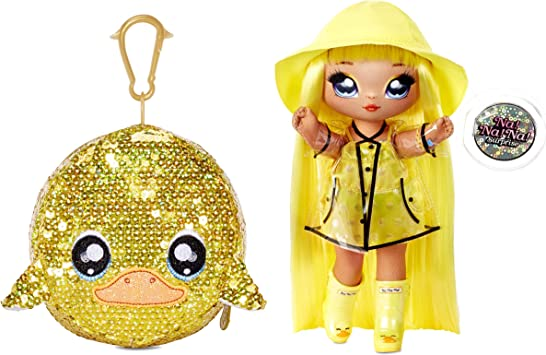 """MGA Entertainment Na Na Na Surprise 2-in-1 Fashion Doll and Sparkly Sequined Purse Sparkle Series – Daria Duckie, 7.5"""" Raincoat Doll"""