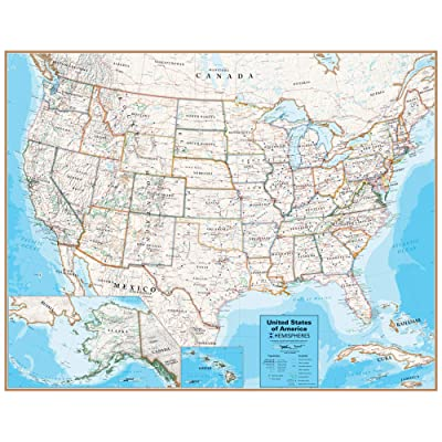 "Waypoint Geographic Hemispheres United States Contemporary Series Laminated Wall Map - Up-to-Date Map (38"" x 48"") - Rolled & Boxed to Prevent Creasing - 1,000's of Cities, States, Capitals: Toys & Games"