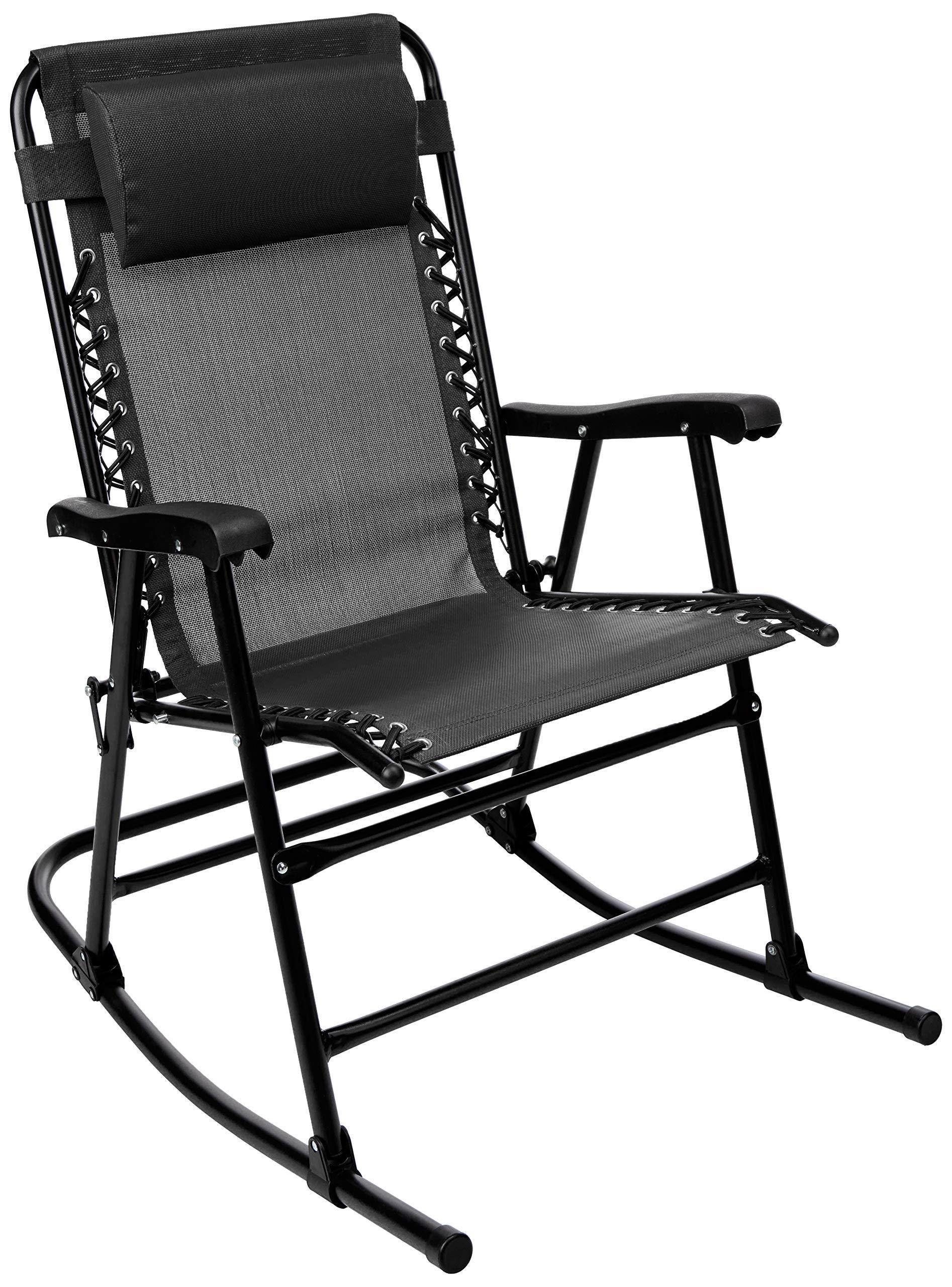 AmazonBasics Foldable Rocking Chair - Black (Renewed) by AmazonBasics