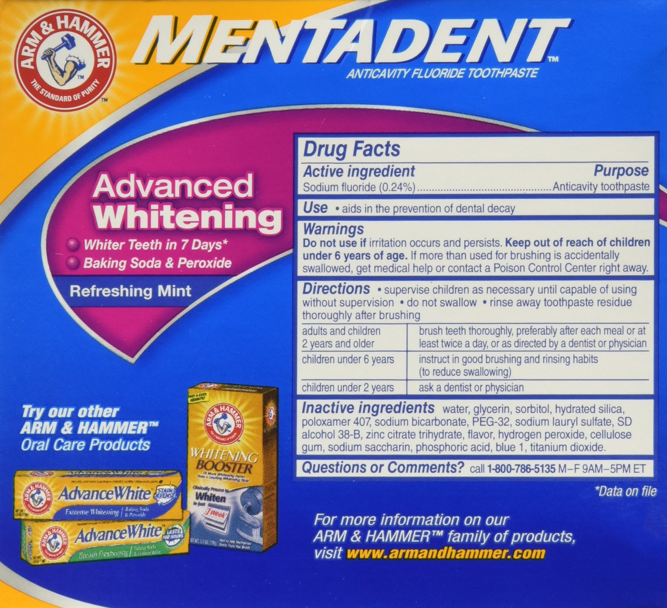 Arm & Hammer Mentadent Advanced Whitening Toothpaste, Twin Refills, 10.5 Ounce (2 pack) by Arm & Hammer (Image #5)