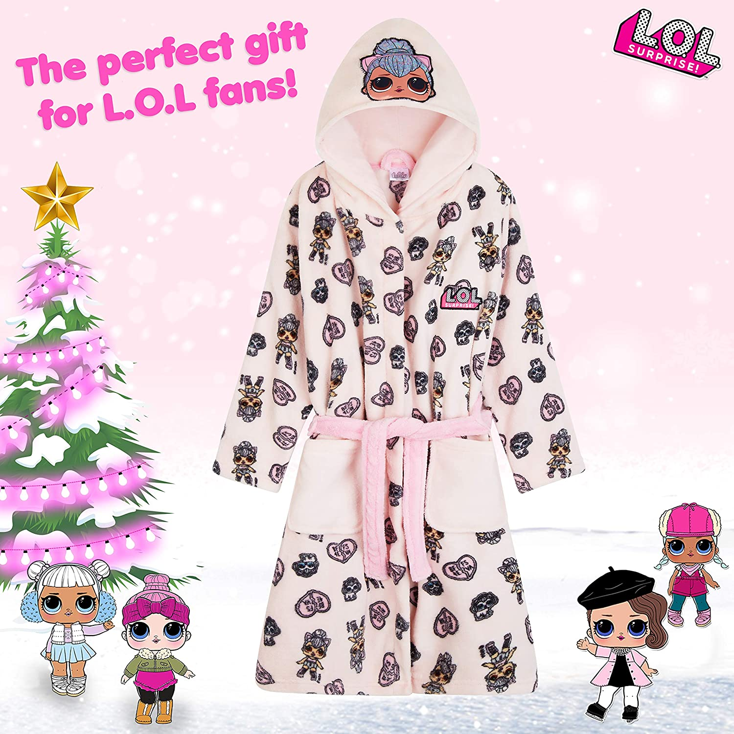 Soft Fleece Girls Dressing Gowns Surprise Kids Hooded Bath Robe L.O.L Cat and Unicorn Gifts for Girls Dressing Gown with LOL Unicorn and Kitty Queen