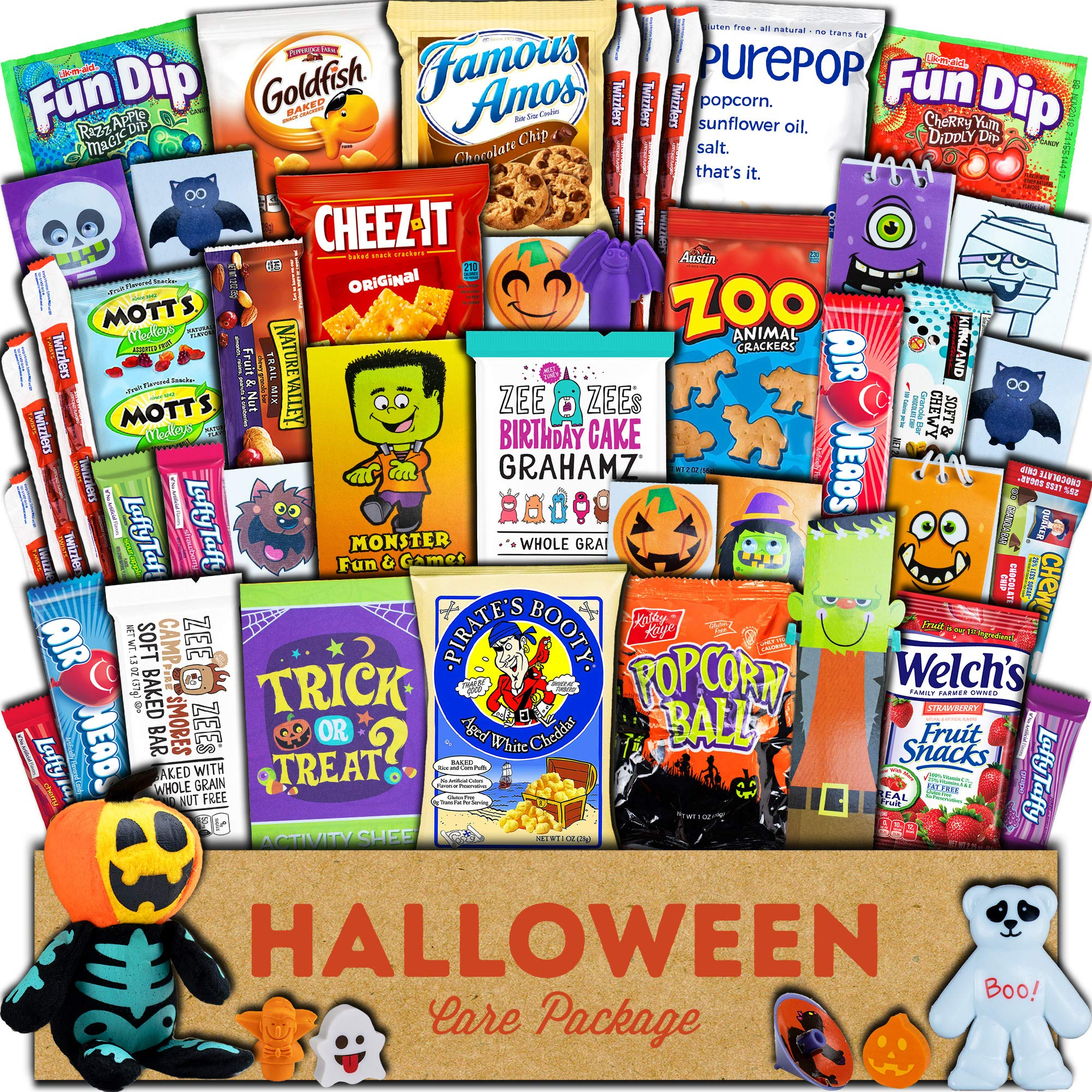 Halloween Care Package (45ct) Trick or Treat Snacks Cookies Bars Chips Candy Toys Variety Gift Box Pack Assortment Basket Bundle Mixed Bulk Sampler Treats College Students Office by Heart & Holly