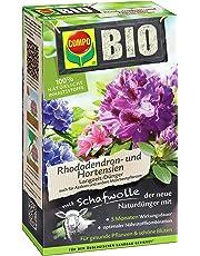 COMPO BIO Rhododendron Langzeit-Dünger mit Schafwolle, einzigartiger, rein organischer Naturdünger für Rhododendron, Hortensien, Azaleen u.a. Moorbeetpflanzen