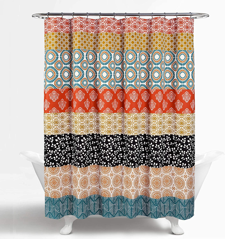 Lush Decor Bohemian Striped Shower Curtain Colorful Bold Design 72 x 72 Blue and Green