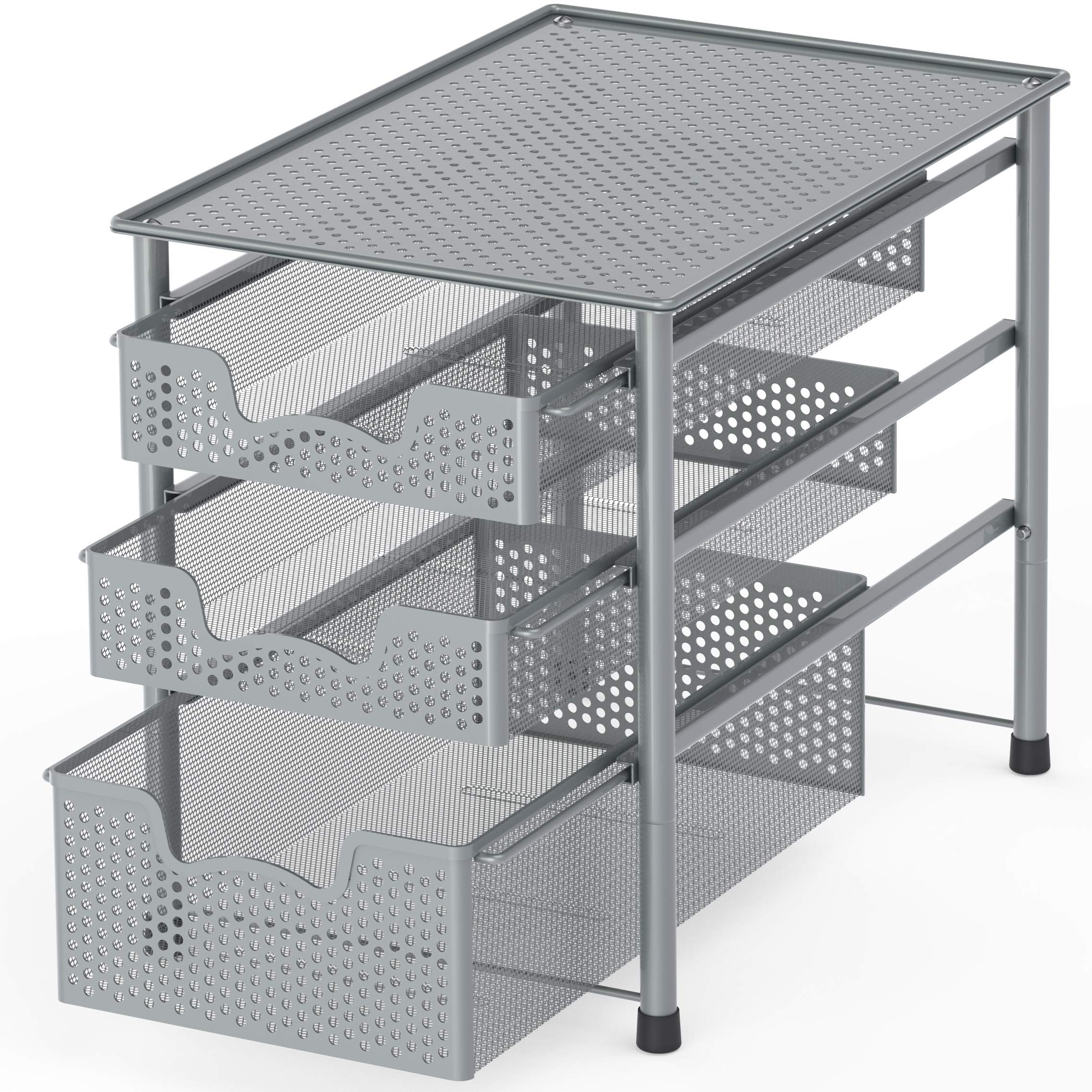 Simple Houseware Stackable 3 Tier Sliding Basket Organizer Drawer, Silver by Simple Houseware