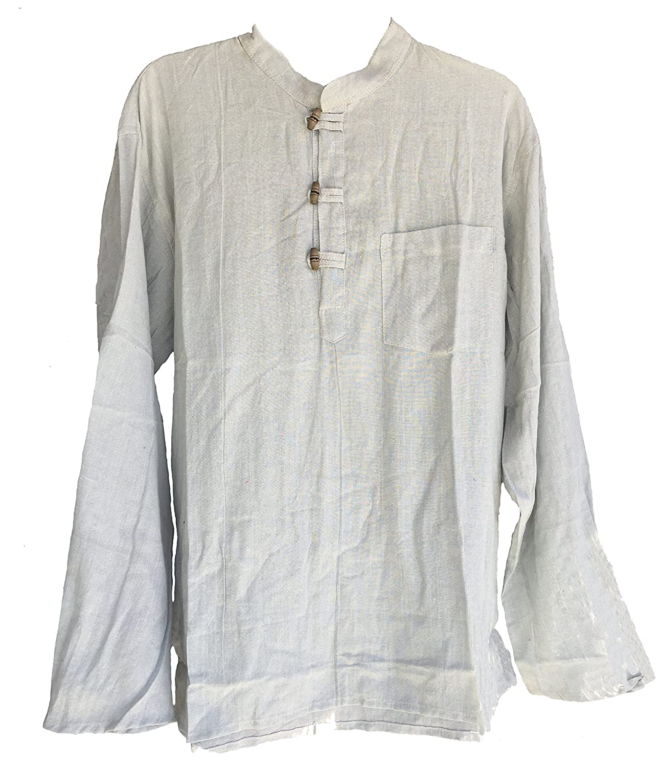 Men's Hand Loomed Gray Cotton Banded Collar Tunic