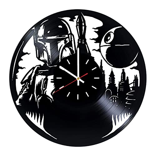 Star Wars Boba Fett Vinyl Record Wall Clock – Living room wall decor – Gift ideas for father and mother, teens – Unique Art Design