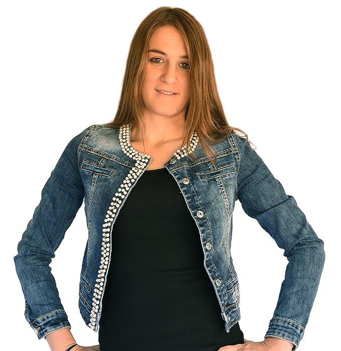 wholesale dealer f77d1 fa463 Principe - Giubbino Jeans donna, strass, perle, brillantini sexy nuova G613