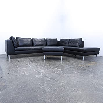 Ewald schillig Diseñador Sofá piel negro sofá moderno piel ...