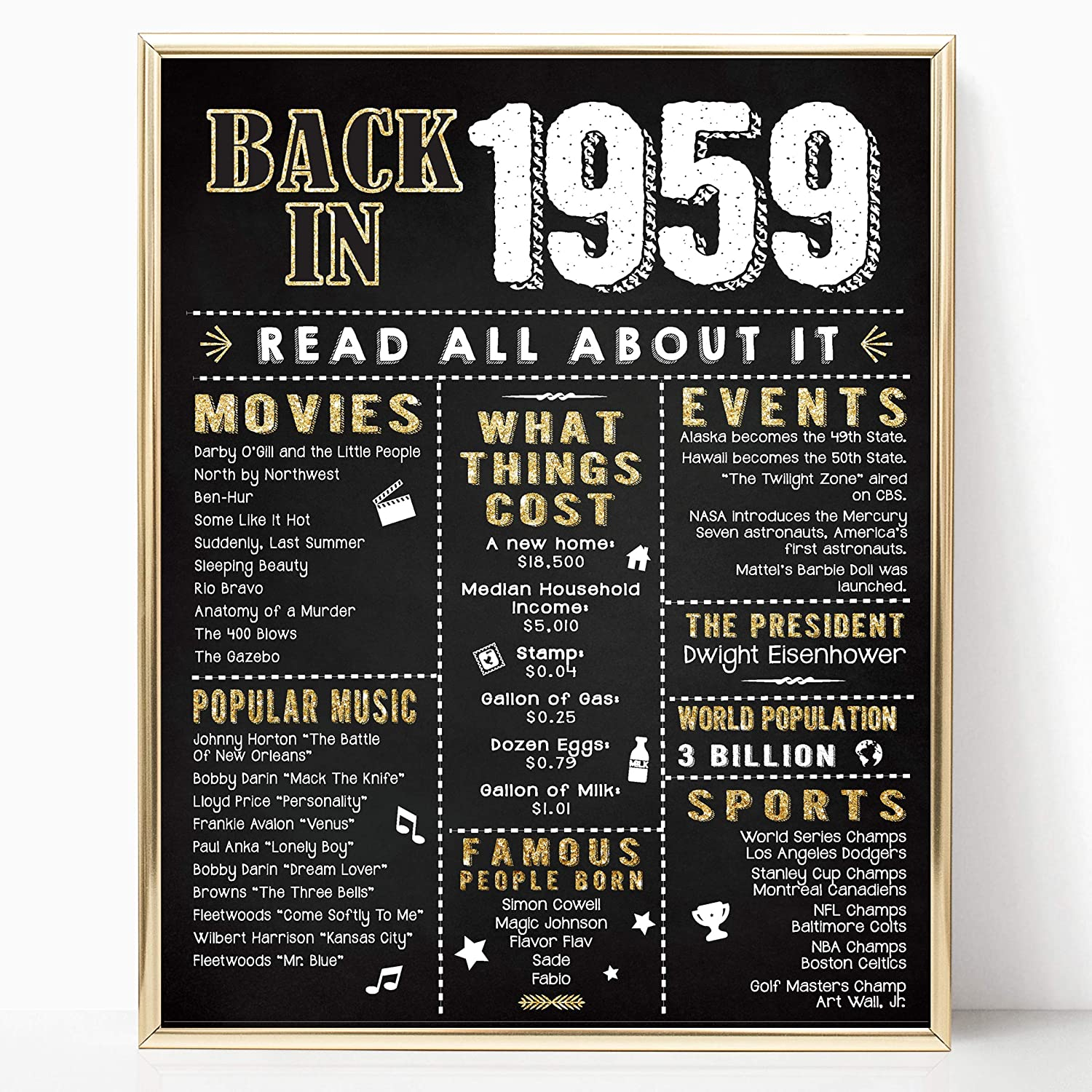Katie Doodle 60th Birthday Decorations Gifts For Women Or Men Includes 8x10 Back In 1959 Sign Unframed Bd060 Black Gold