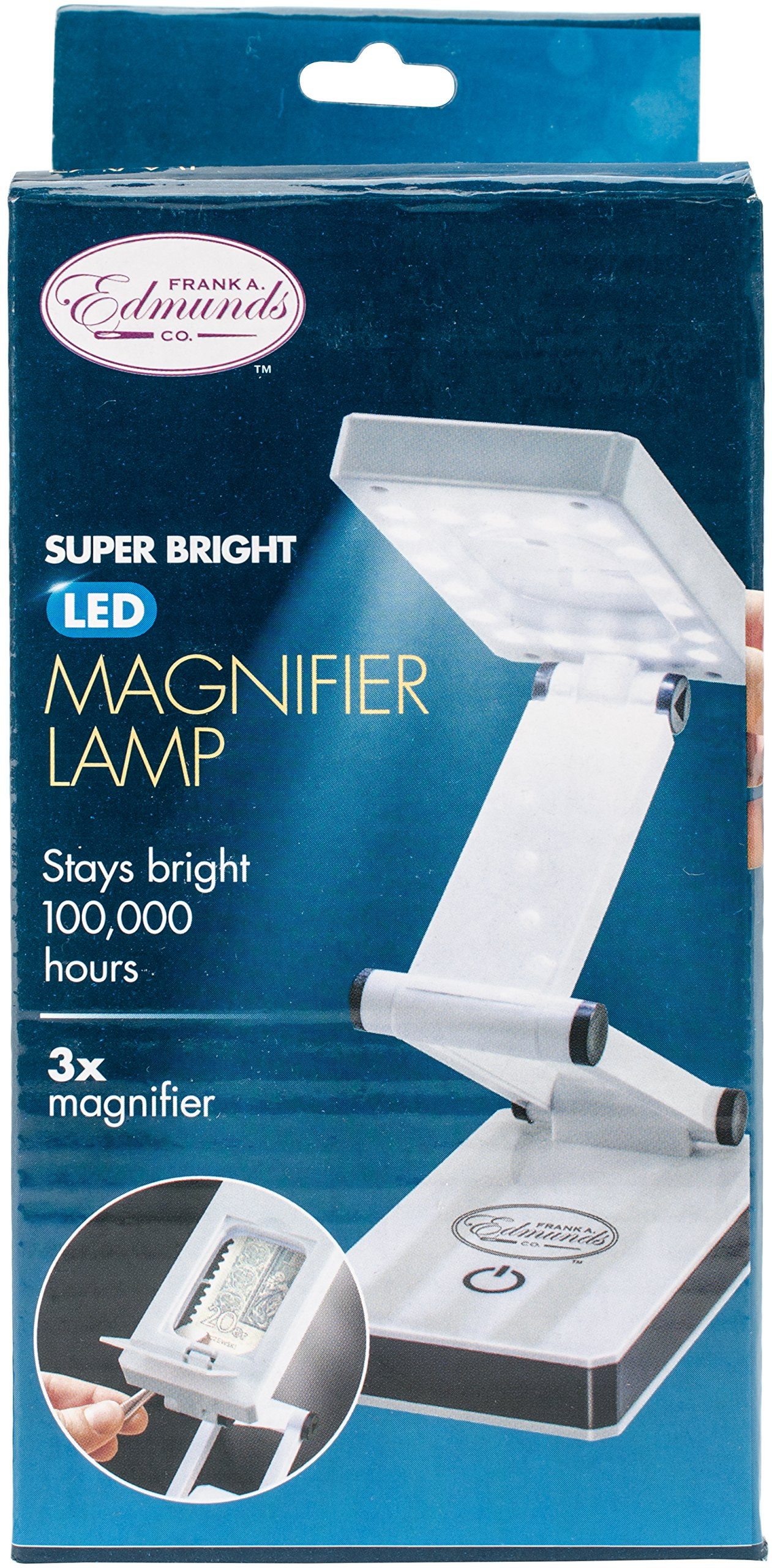 Ideaworks Super Bright LED Magnifier Lamp - Magnify & Illuminate Small Tasks or Projects -Collapsible, Space Saving Design - 18 LED Lights with Multiple Levels of Brightness