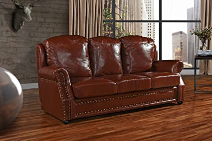 Amazon.com : Leather Match Sofa 3 Seater, Living Room Couch with ...