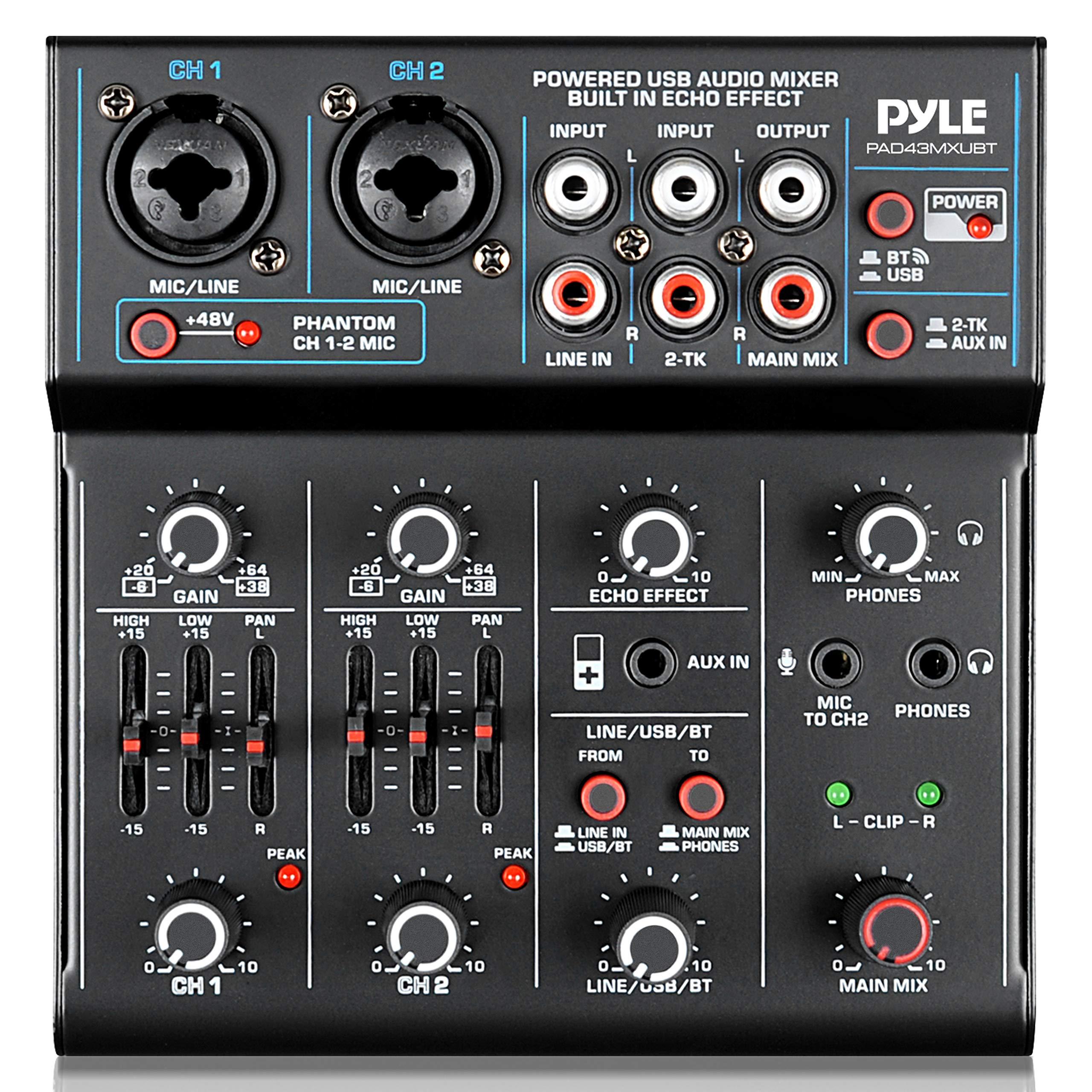 Professional Wireless DJ Audio Mixer - 4-Channel Bluetooth DJ Controller Sound Mixer - USB Audio Interface, 2 Combo Jack XLR+6.35mm Mic/Line/Guitar In, 3.5mm, RCA AUX, Headphone Jack - Pyle PAD43MXUBT