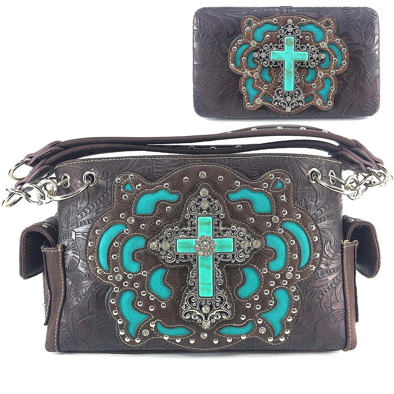 Justin West Western Rhinestone Cross Weaved Leather Laser Cut Floral Design Chain Shoulder Back Conceal Carry Handbag Purse with Wallet