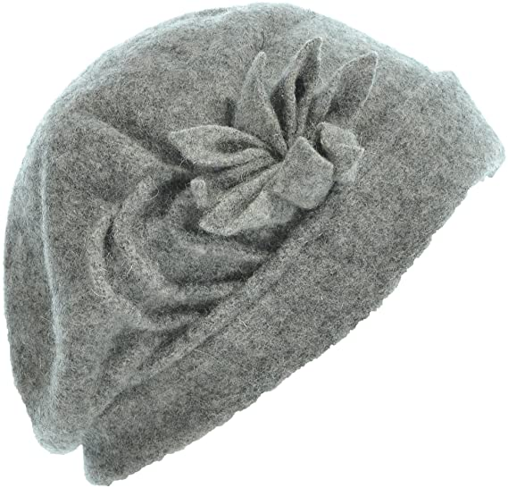 Hand By Hand Aprileo Women s Wool Beret Hat Solid Floral Cloche Winter Soft  Hat  Gray. (One Size) at Amazon Women s Clothing store  07bea7b5fdff