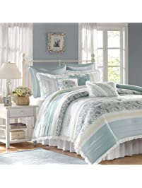 madison park dawn 9 piece cotton percale comforter set blue queen shabby