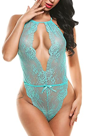d88df7f9ddb58 Amazon.com: Avidlove Lingerie for Women Teddy One Piece Lace Babydoll  Bodysuit (S, Green): Clothing