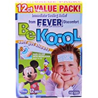Be Koool Fever Soft Gel Sheets For Kids, Immediate Cooling Relief from Fever Discomfort, 12 Sheets