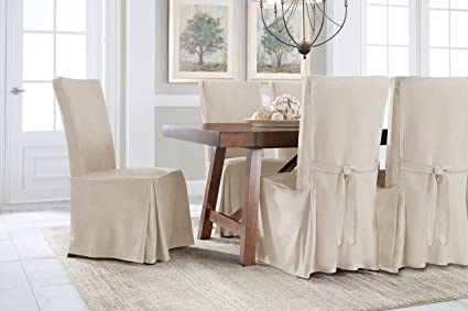 Serta Relaxed Fit Smooth Suede Furniture Slipcover For Regular Dining Chair,  Ivory