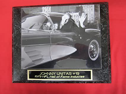 Johnny Unitas Baltimore Colts Collector Plaque w//8x10 Rare Photo in Corvette