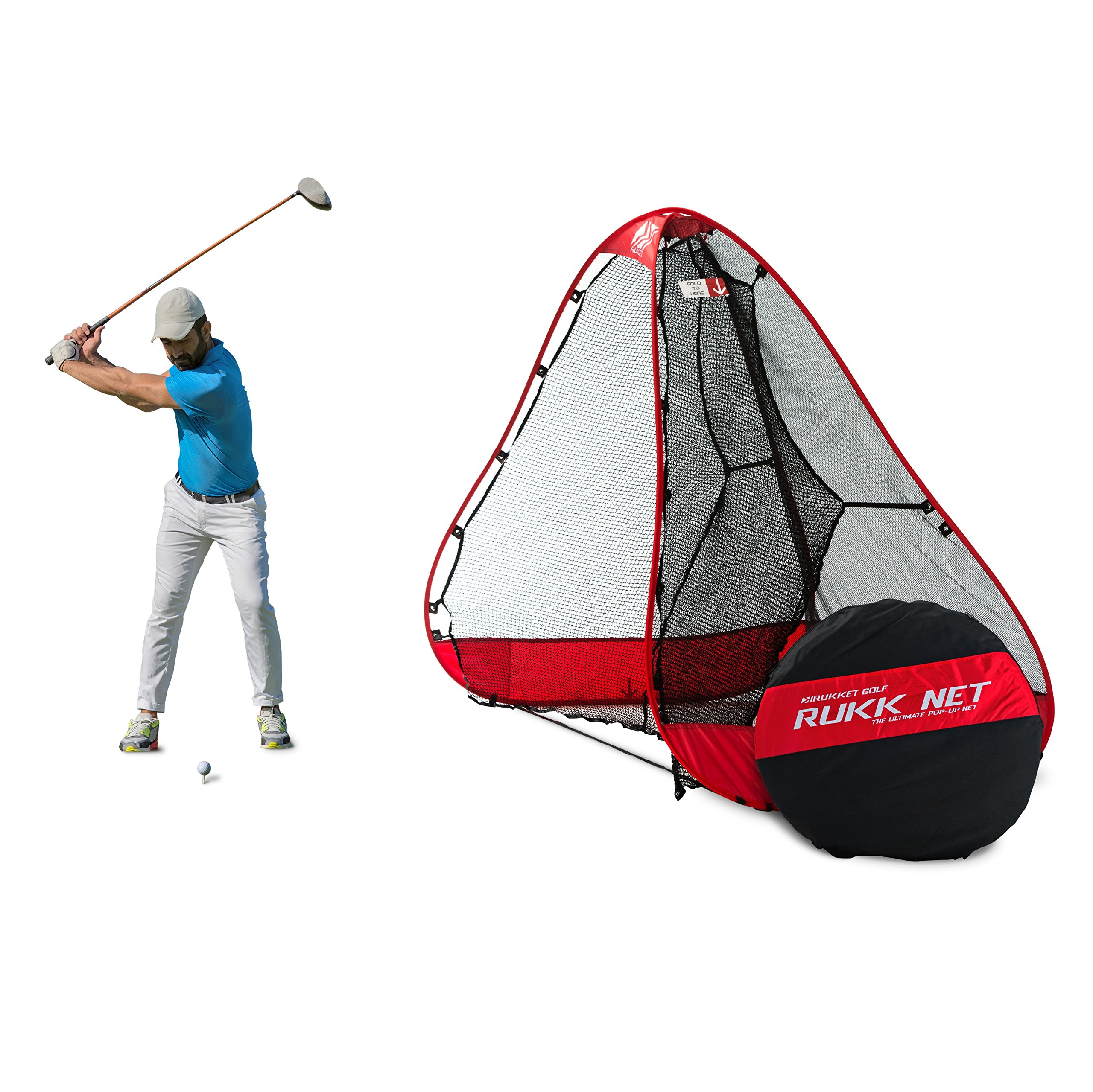 Rukket 10x7ft Pop Up Golf Net | Orginal Rukknet | Practice Driving Indoor and Outdoor | Backyard Swing Training Aids