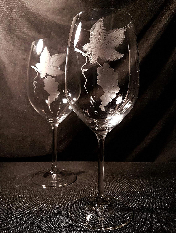 Copas Bohemia Vino Talladas a Mano con Estuche de lujo.(mod. Gastro talla Racimo): Amazon.es: Handmade