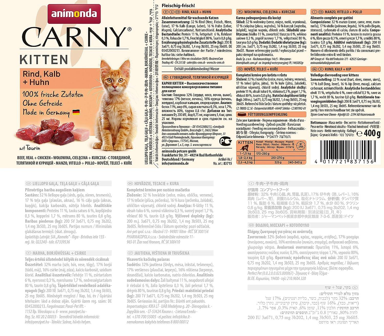 Animonda Gato Forro Carny Kitten Baby de Patentado, 6 Pack (6 x ...
