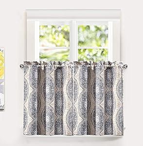 """DriftAway Adrianne Thermal/Room Darkening Kitchen Tier Window Treatment, Set of Two, Each 30""""x36""""+ 1"""" Header (Beige/Gray)"""