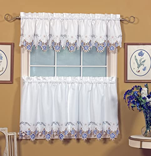 Today s Curtain Verona Reverse Embroidery Valance, 14-Inch, White Blue