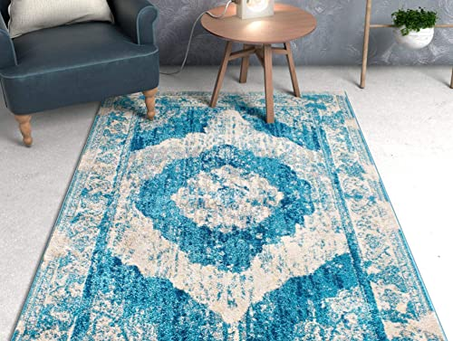 Well Woven Lenox Blue Vintage Persian Medallion Modern Traditional Oriental Casual Area Rug 8 x 11 7'10'' x 10'6″ Thick Soft Plush Shed Free