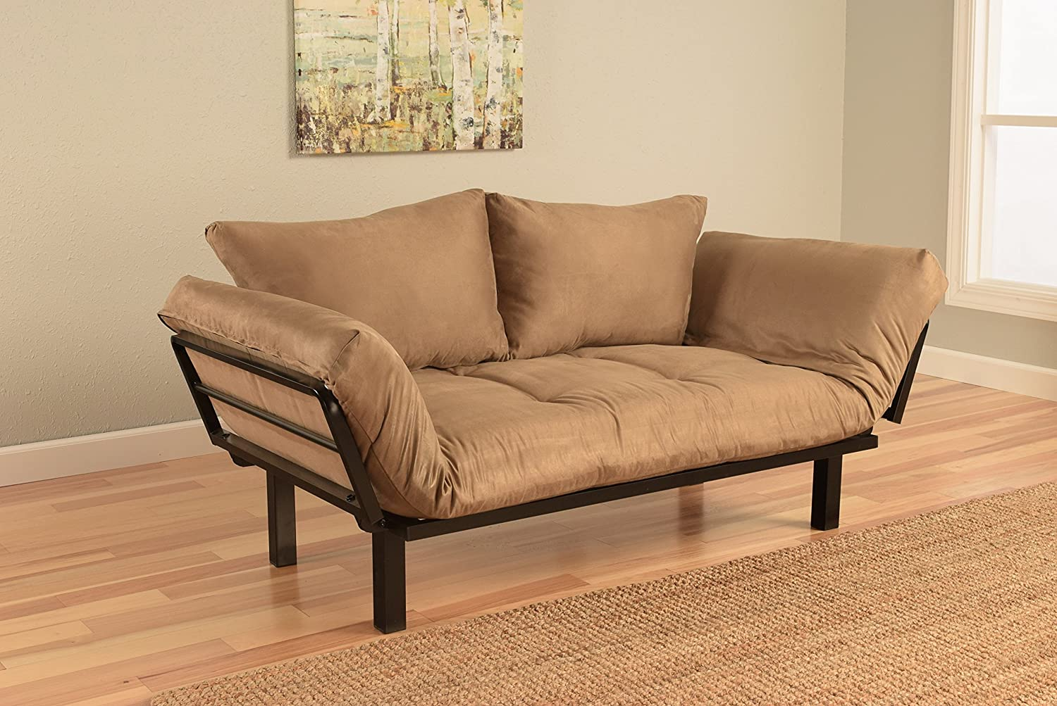Jerry Sales Bright Day Twin Size Bed Futon Metal Frame, Many Color Fabrics to Choose (Peat)