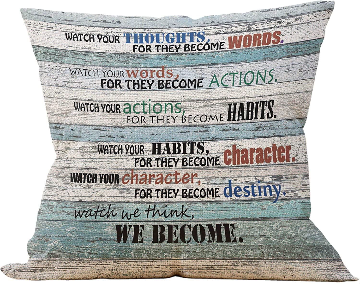 Mancheng-zi Inspirational Quotes Throw Pillow Case, Rules of Life Pillow, 18 x 18 Inch Vintage Wood Office Decorative Cotton Linen Cushion Cover for Sofa Couch Office