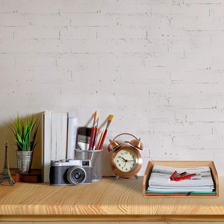 Relaxdays/ apilable Natural A4 Perforado Oficina 7/X 25/X 33 /Los Documentos bamb/ú Escritorio Estante HBT: Aprox
